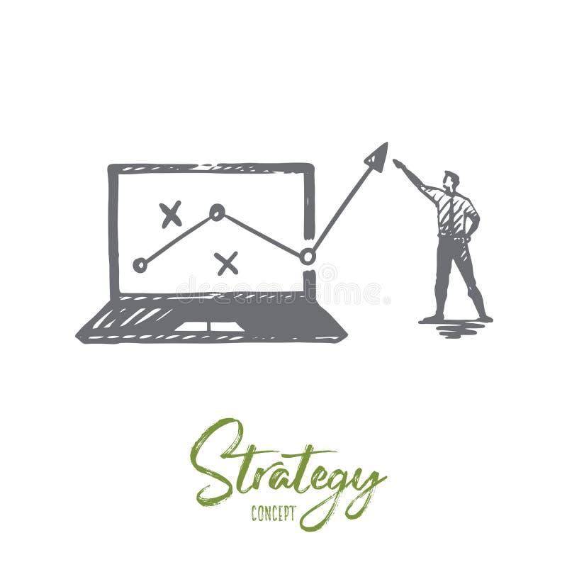 Στρατηγική, μάρκετινγκ, γραφική παράσταση, διάγραμμα, έννοια βελών Συρμένο χέρι απομονωμένο διάνυσμα διανυσματική απεικόνιση