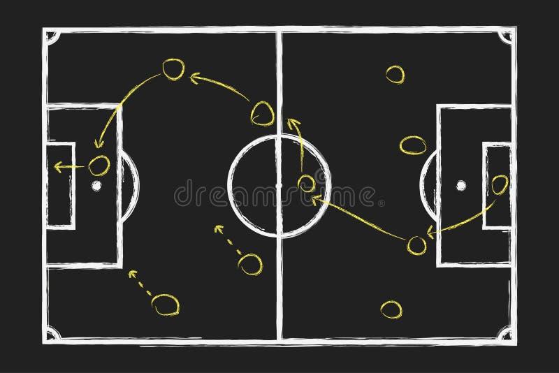 Στρατηγική παιχνιδιών ποδοσφαίρου Σχέδιο χεριών κιμωλίας με το τακτικό σχέδιο ποδοσφαίρου για τον πίνακα διάνυσμα διανυσματική απεικόνιση