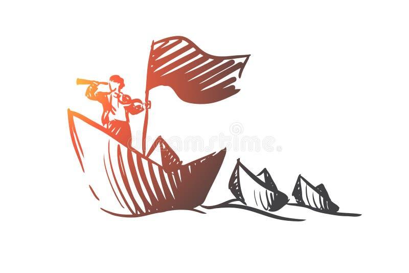 Στρατηγική, σειρά μαθημάτων, βάρκα, άποψη, έννοια επιχειρηματιών Συρμένο χέρι απομονωμένο διάνυσμα διανυσματική απεικόνιση