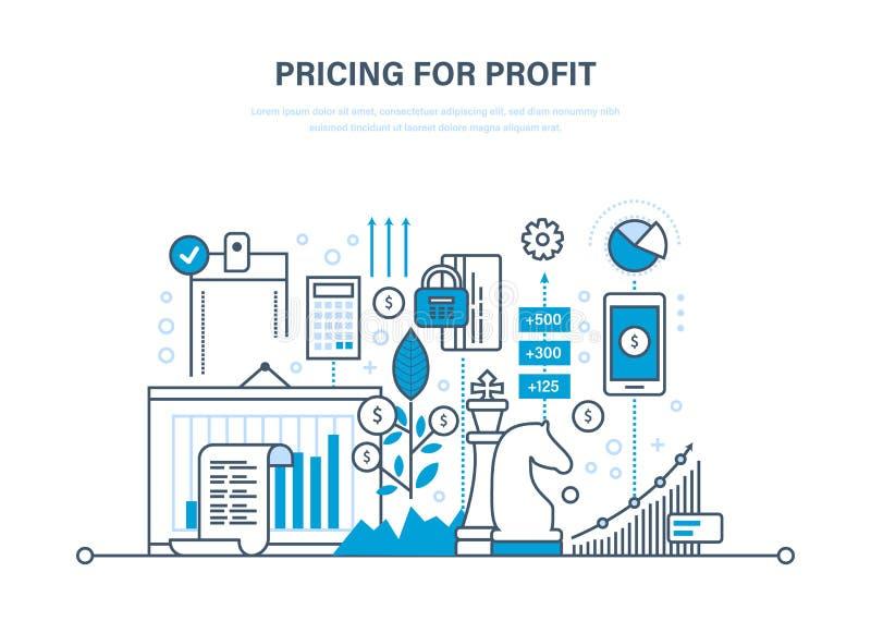 Στρατηγική τιμολόγησης και τιμολόγηση για το κέρδος, διαχείριση, μάρκετινγκ, προγραμματισμός, έρευνα ελεύθερη απεικόνιση δικαιώματος