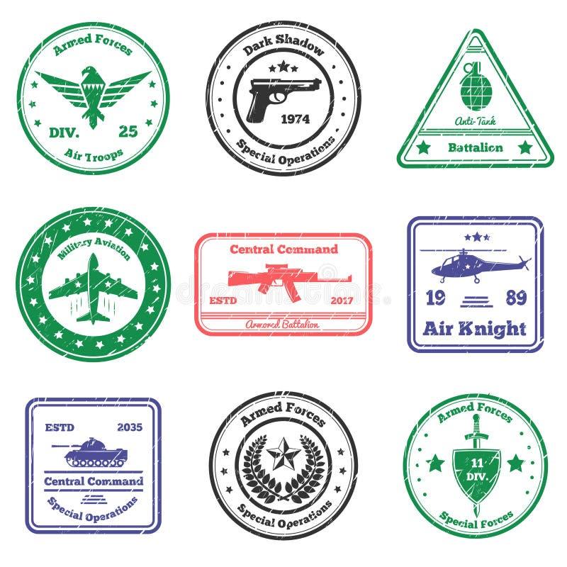 Στρατιωτικά γραμματόσημα διακριτικών καθορισμένα ελεύθερη απεικόνιση δικαιώματος