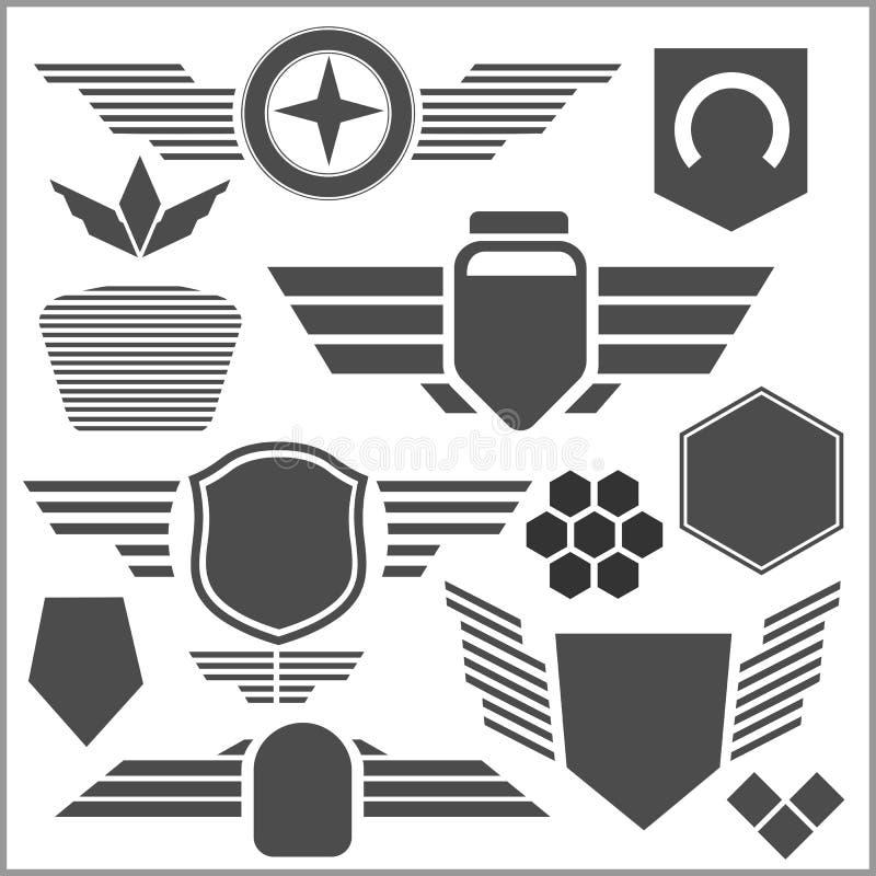 Στρατιωτικά εικονίδια συμβόλων - διανυσματικό σύνολο απεικόνιση αποθεμάτων