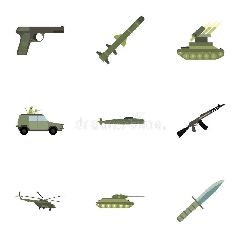 Στρατιωτικά εικονίδια όπλων καθορισμένα, επίπεδο ύφος απεικόνιση αποθεμάτων