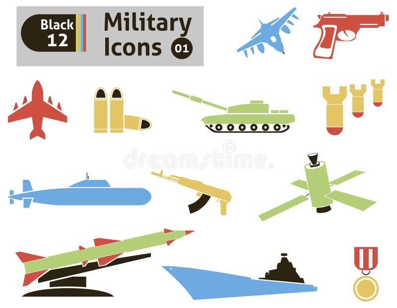 Στρατιωτικά εικονίδια ελεύθερη απεικόνιση δικαιώματος
