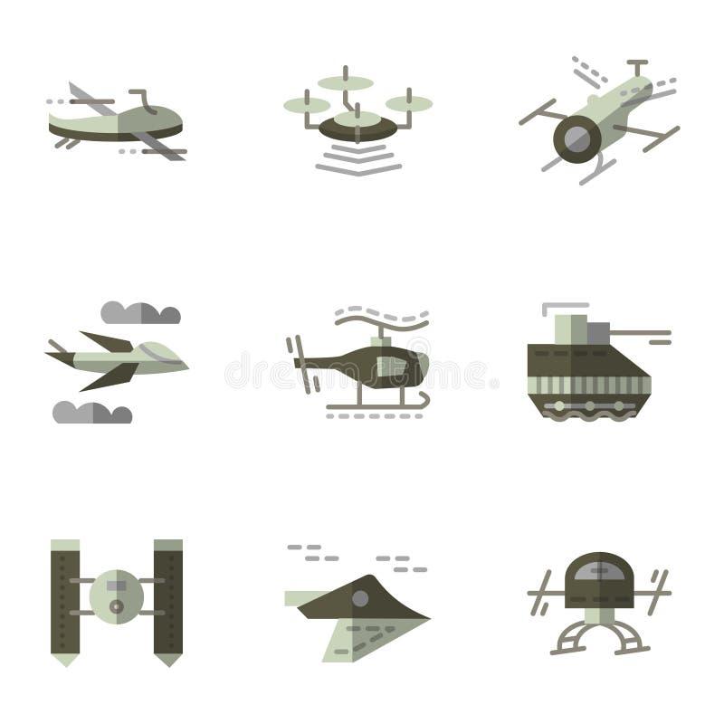 Στρατιωτικά επίπεδα εικονίδια κηφήνων καθορισμένα διανυσματική απεικόνιση