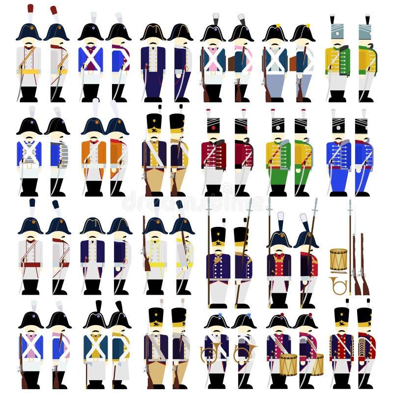 Στρατιωτικές στολές του στρατού της Πρωσίας το 1812 διανυσματική απεικόνιση