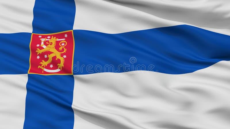 Στρατιωτική άποψη κινηματογραφήσεων σε πρώτο πλάνο σημαιών της Φινλανδίας απεικόνιση αποθεμάτων