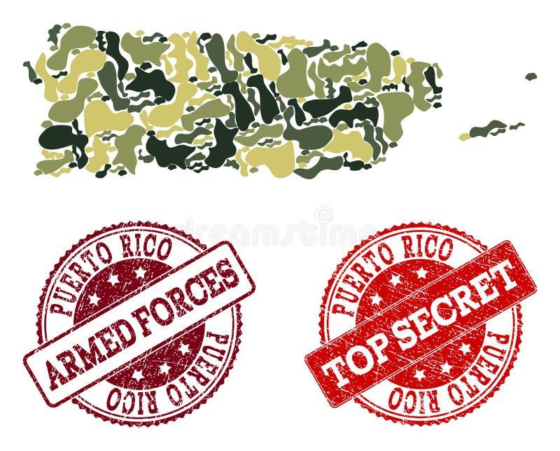 Στρατιωτική σύνθεση κάλυψης του χάρτη του Πουέρτο Ρίκο και των κατασκευασμένων μυστικών σφραγίδων ελεύθερη απεικόνιση δικαιώματος