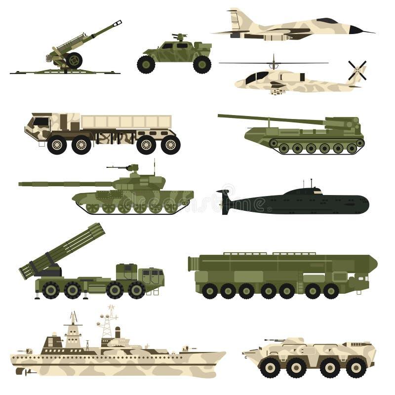 Στρατιωτική τεχνική επίπεδη διανυσματική απεικόνιση δεξαμενών συνόλου και τεθωρακισμένων εικονιδίων ελεύθερη απεικόνιση δικαιώματος