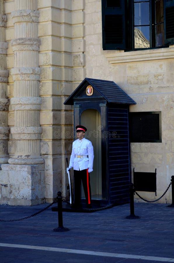 Στρατιωτική φρουρά σε Valletta, Μάλτα στοκ φωτογραφίες