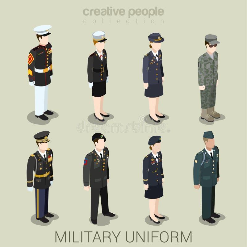 Στρατιωτικοί άνθρωποι στρατού στο ομοιόμορφο επίπεδο σύνολο εικονιδίων ύφους isometric ελεύθερη απεικόνιση δικαιώματος
