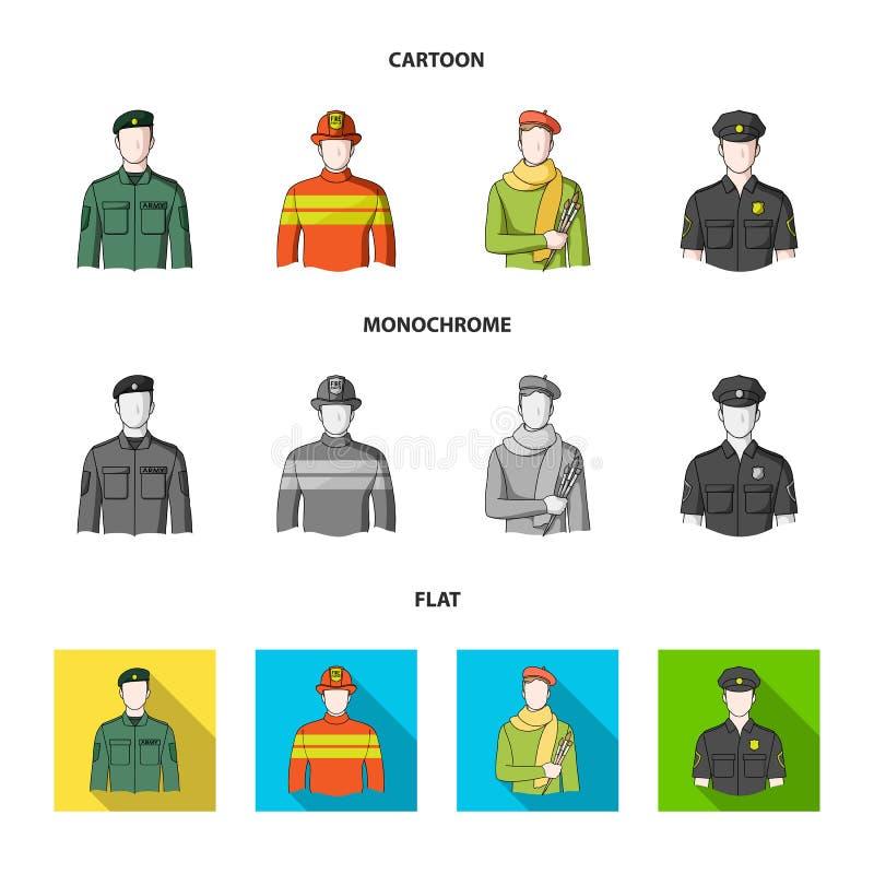 Στρατιωτικός, πυροσβέστης, καλλιτέχνης, αστυνομικός Καθορισμένα εικονίδια συλλογής επαγγέλματος στα κινούμενα σχέδια, επίπεδο, μο διανυσματική απεικόνιση