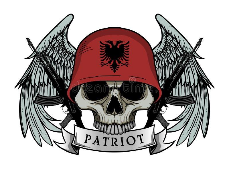 Στρατιωτικό κρανίο ή κρανίο πατριωτών με το κράνος σημαιών της ΑΛΒΑΝΙΑΣ ελεύθερη απεικόνιση δικαιώματος