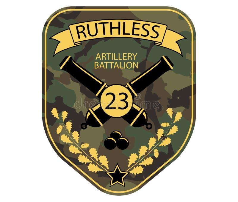 Στρατιωτικό μπάλωμα εμβλημάτων πυροβολικού με τα πυροβόλα, την κορδέλλα και το δρύινο κλάδο ελεύθερη απεικόνιση δικαιώματος