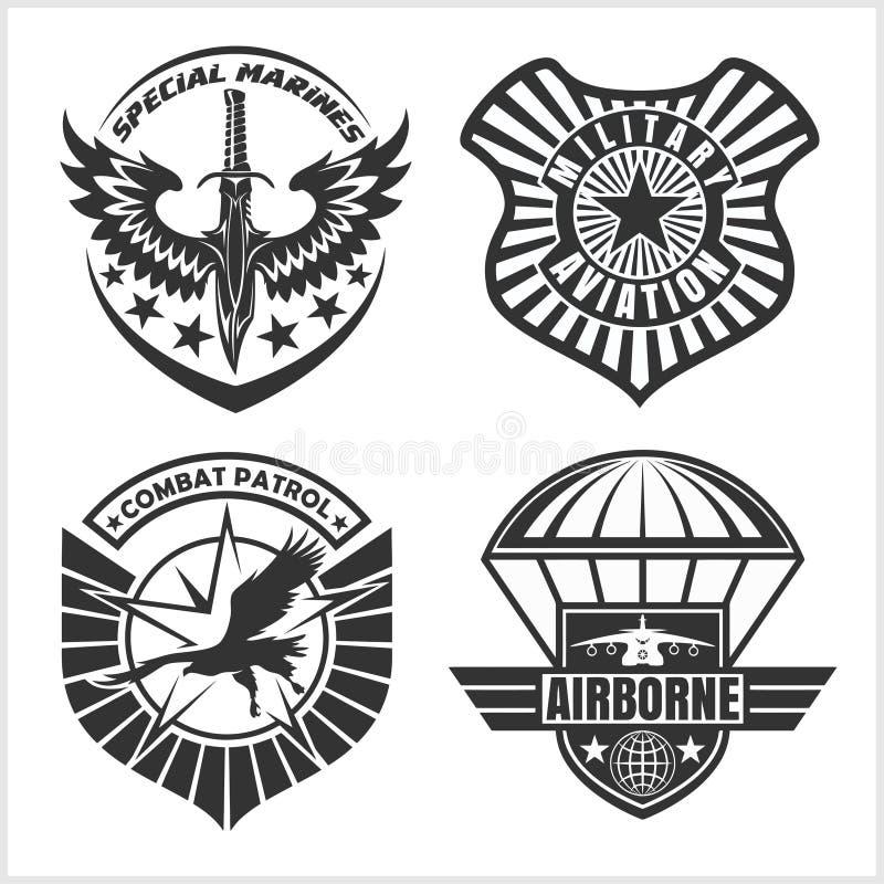 Στρατιωτικό μπάλωμα πολεμικής αεροπορίας καθορισμένο - λογότυπο διακριτικών και ετικετών οπλισμένων δυνάμεων απεικόνιση αποθεμάτων