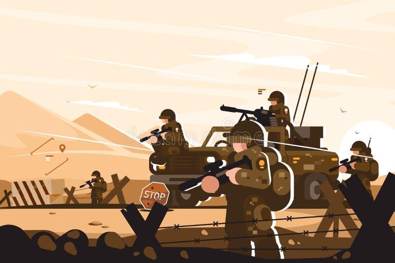 Στρατιωτικό οδόφραγμα με τους στρατιώτες διανυσματική απεικόνιση
