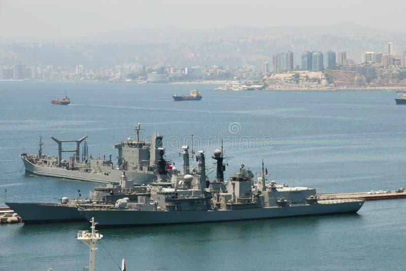 Στρατιωτικό πολεμικό πλοίο - Valparaiso - Χιλή στοκ φωτογραφία