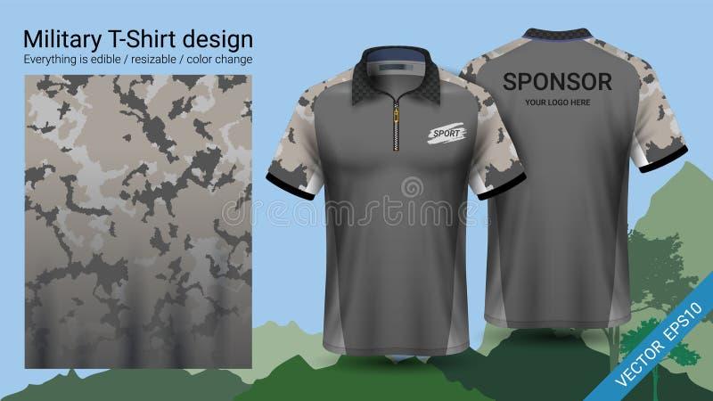 Στρατιωτικό σχέδιο μπλουζών πόλο, με τα ενδύματα τυπωμένων υλών κάλυψης για τη ζούγκλα, την οδοιπορία πεζοπορίας ή τον κυνηγό, δι απεικόνιση αποθεμάτων