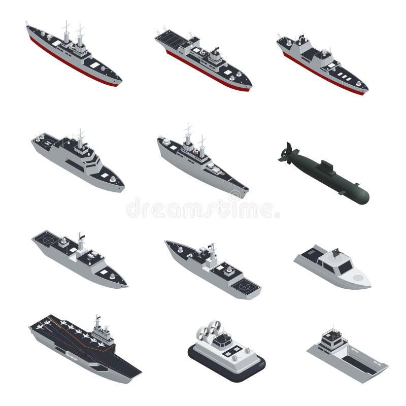 Στρατιωτικό σύνολο εικονιδίων βαρκών Isometric διανυσματική απεικόνιση