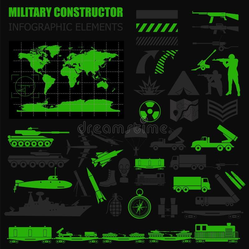 Στρατιωτικό infographic πρότυπο Διανυσματική απεικόνιση με την κορυφή powe διανυσματική απεικόνιση