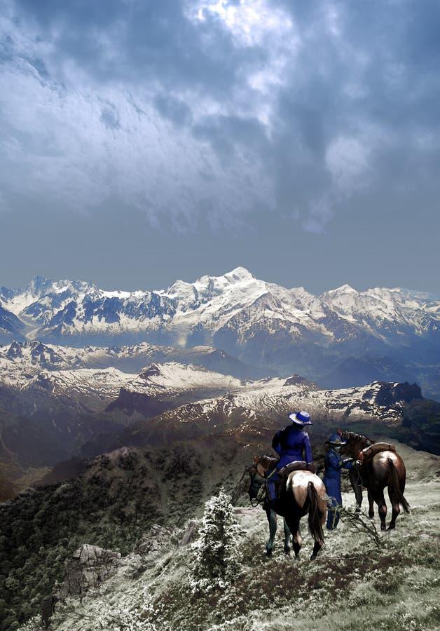 Στρατιώτες ένωσης στα βουνά διανυσματική απεικόνιση