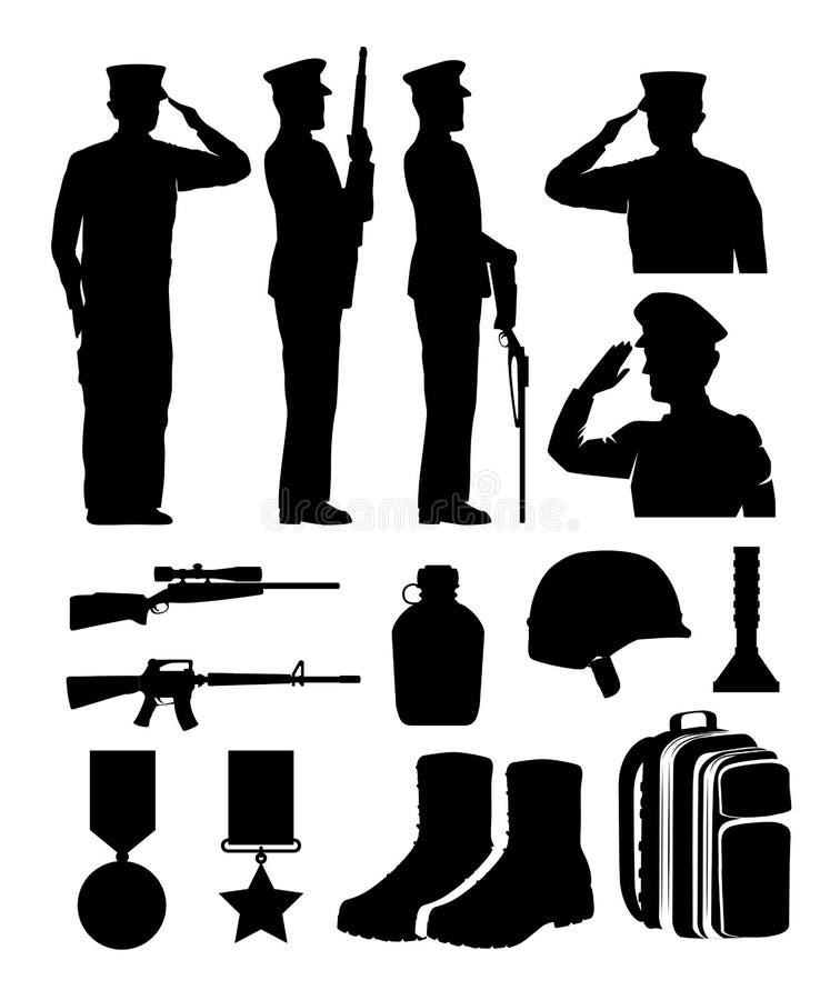 Στρατιώτες και σκιαγραφίες εξοπλισμού ελεύθερη απεικόνιση δικαιώματος