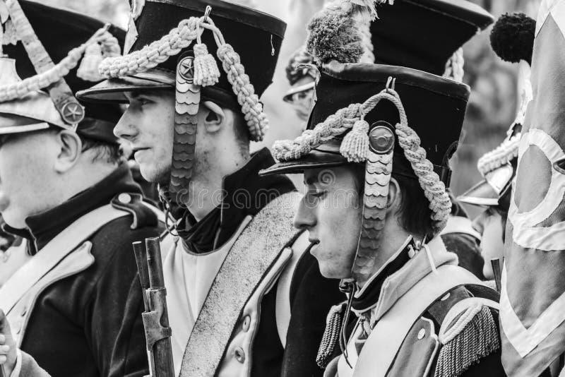 Στρατιώτες του γαλλικού ναπολεόντειου στρατού - γραπτού στοκ εικόνα με δικαίωμα ελεύθερης χρήσης
