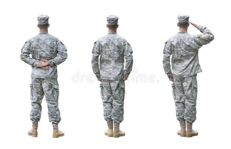 Στρατιώτης αμερικάνικου στρατού σε τρεις θέσεις που απομονώνονται στο whi στοκ εικόνα