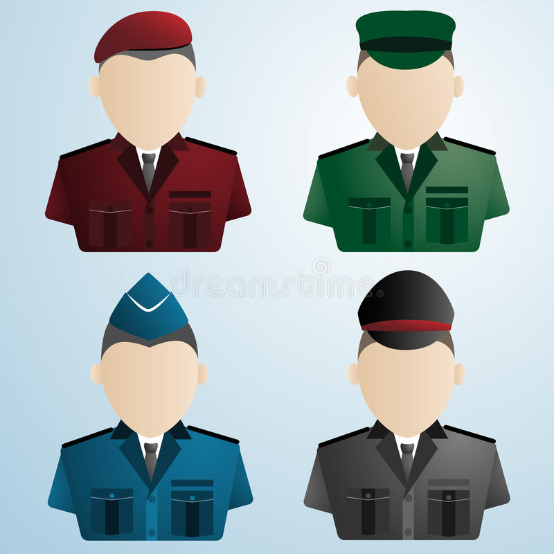 Στρατιώτης αστυνομίας κινούμενων σχεδίων στρατιωτικός στολές απεικόνιση αποθεμάτων