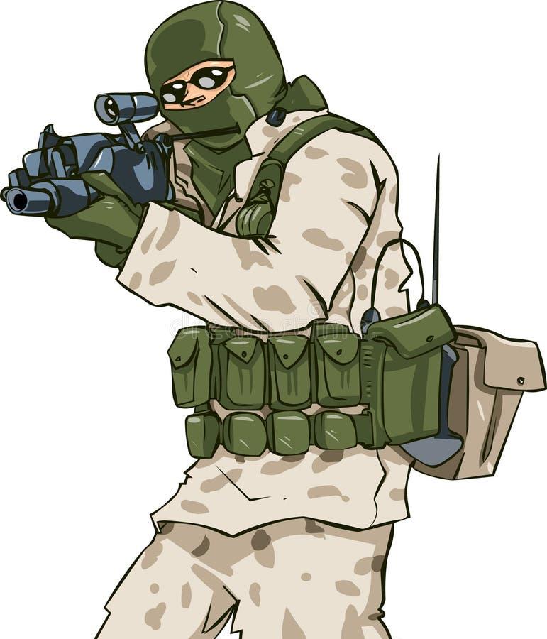 στρατιώτης ερήμων διανυσματική απεικόνιση