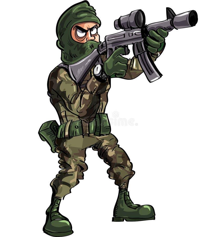 Στρατιώτης κινούμενων σχεδίων με το πυροβόλο όπλο και balaclava ελεύθερη απεικόνιση δικαιώματος