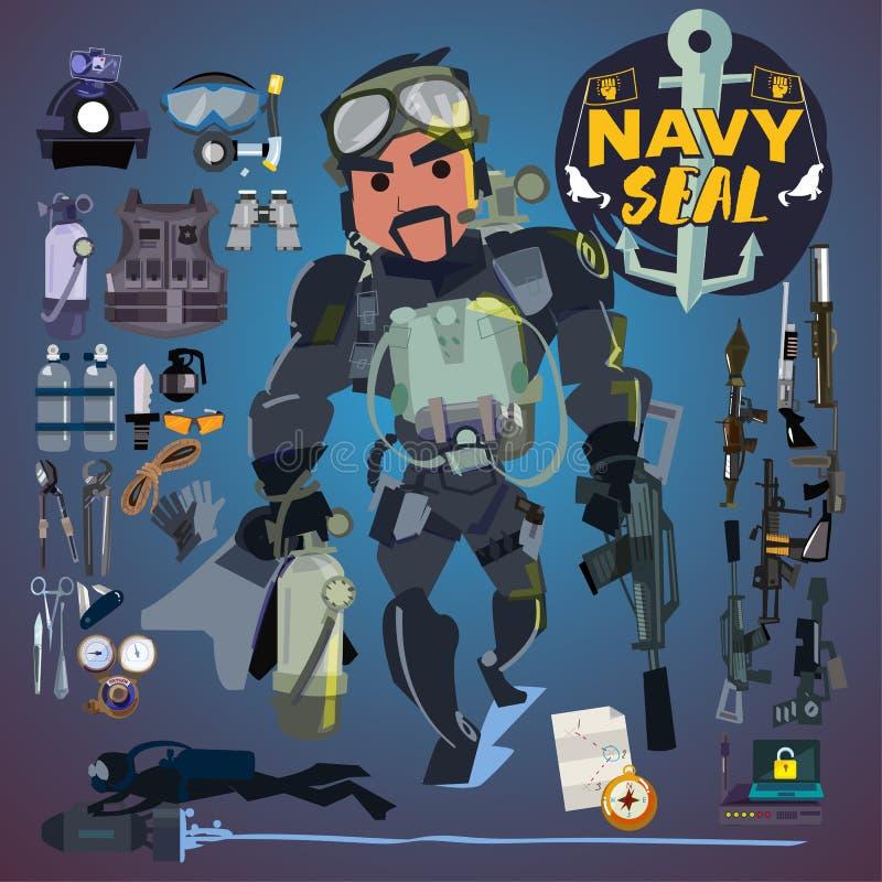 Στρατιώτης σφραγίδων ναυτικού με το σύνολο εργαλείων, όπλων και εξοπλισμού logotype - απεικόνιση αποθεμάτων
