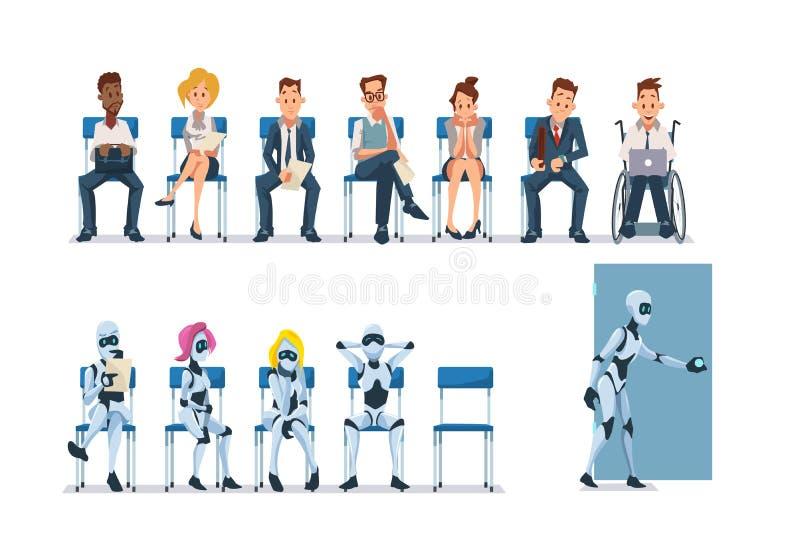Στρατολόγηση και ρομπότ συνέντευξης εργασίας διάνυσμα διανυσματική απεικόνιση
