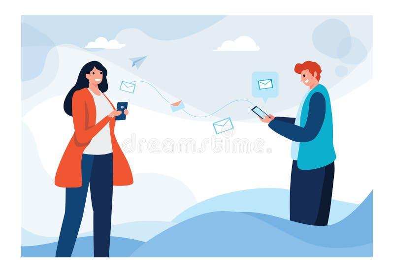 Στρατολόγηση Παραπέμψτε έναν φίλο των επιχειρηματιών Μίσθωση, διαπραγμάτευση, συμφωνία Επίπεδο γραφικό σχέδιο χαρακτήρα κινουμένω στοκ εικόνα με δικαίωμα ελεύθερης χρήσης