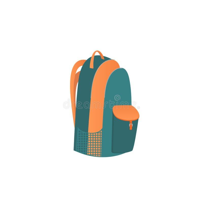 στρατοπέδευση τσαντών πο&u σακίδιο Ένα σχολικό σακίδιο πλάτης με τους κλάδους σε ένα φερμουάρ, και τσέπες διανυσματική απεικόνιση