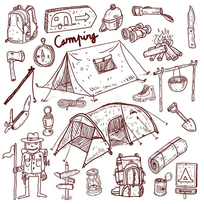 Στρατοπέδευση - doodles συλλογή απεικόνιση αποθεμάτων