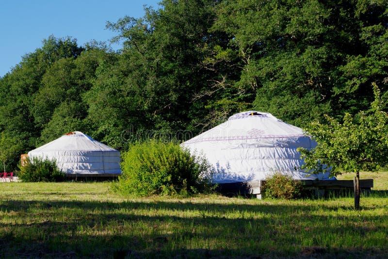 Στρατόπεδο με τα yurts σε ένα λιβάδι στοκ φωτογραφία