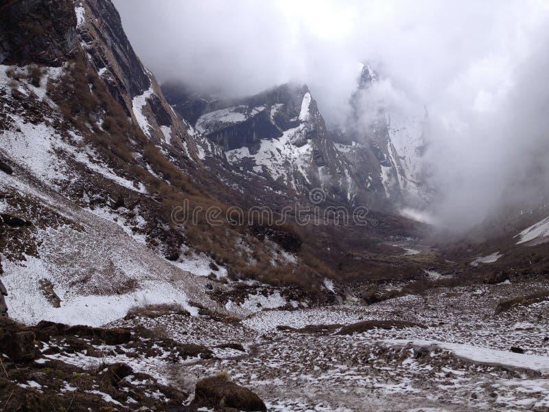 Στρατόπεδο βάσεων Annapurna Βουνά του Ιμαλαίαυ στο Νεπάλ στοκ φωτογραφία