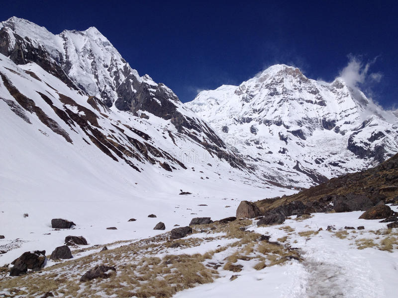 Στρατόπεδο βάσεων Annapurna - Νεπάλ, Ιμαλάια στοκ εικόνες