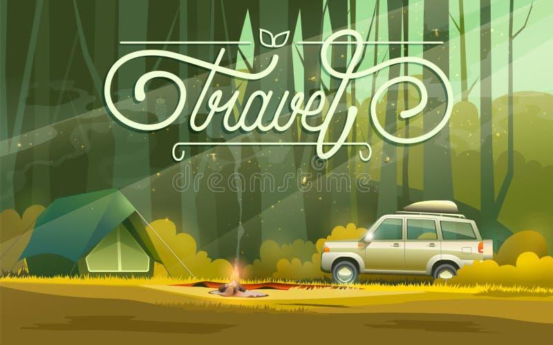 Στρατόπεδο με το αυτοκίνητο και τη σκηνή διανυσματική απεικόνιση