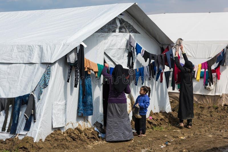 Στρατόπεδο προσφύγων στην Ελλάδα Εκδοτική Εικόνες - εικόνα από ...