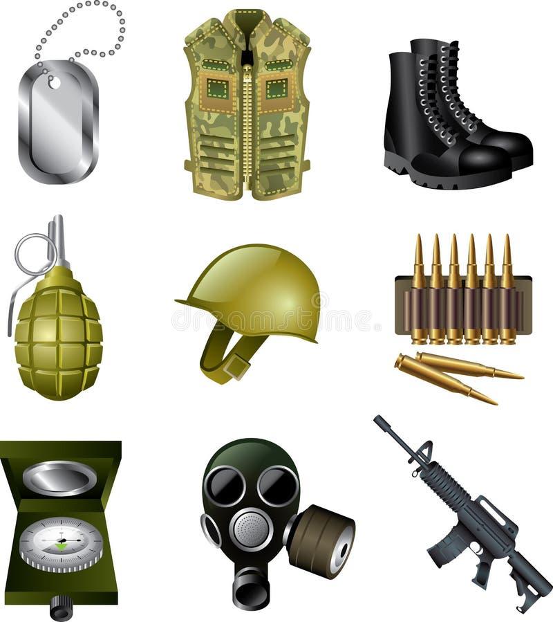 Στρατός και στρατιωτικά εικονίδια ελεύθερη απεικόνιση δικαιώματος