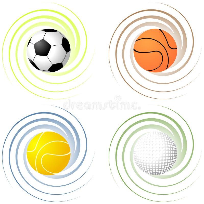 Στριμμένες αθλητικές σφαίρες ελεύθερη απεικόνιση δικαιώματος