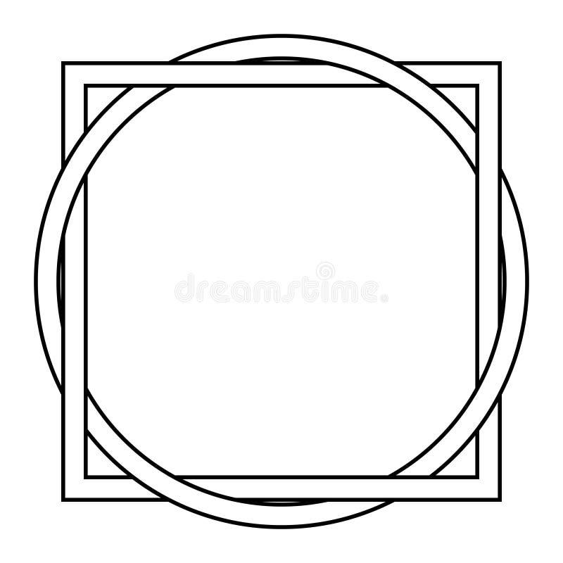 Στριμμένο τετράγωνο με τη δερματοστιξία κύκλων διανυσματική απεικόνιση