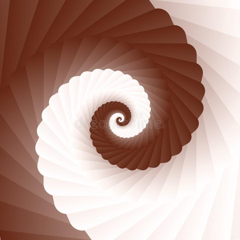 Στροβίλου κρέμας σοκολάτας καφετιάς και άσπρης σπείρα, διανυσματική απεικόνιση