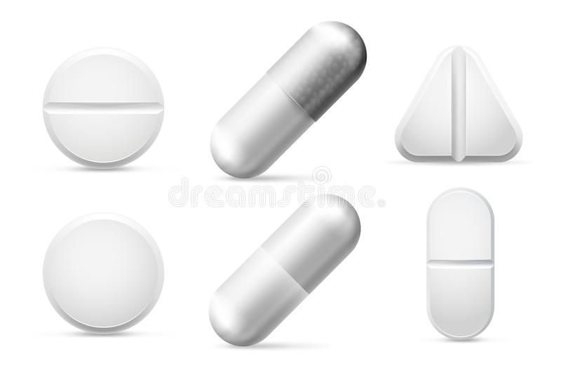 Στρογγυλά άσπρα χάπια θεραπείας, aspirin, αντιβιοτικά και φάρμακα παυσιπόνων Χάπι επεξεργασίας πόνου και φαρμακευτικό διάνυσμα φα απεικόνιση αποθεμάτων