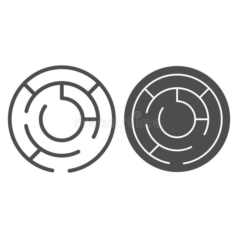 Στρογγυλά γραμμή και glyph εικονίδιο λαβύρινθων Κύκλων λαβυρίνθου απεικόνιση που απομονώνεται διανυσματική στο λευκό Σχέδιο ύφους απεικόνιση αποθεμάτων