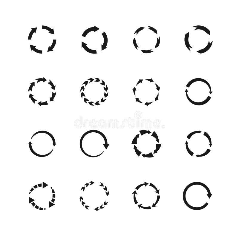 Στρογγυλά διανυσματικά σύμβολα βελών κινήσεων Εικονίδια βελών κύκλων απεικόνιση αποθεμάτων