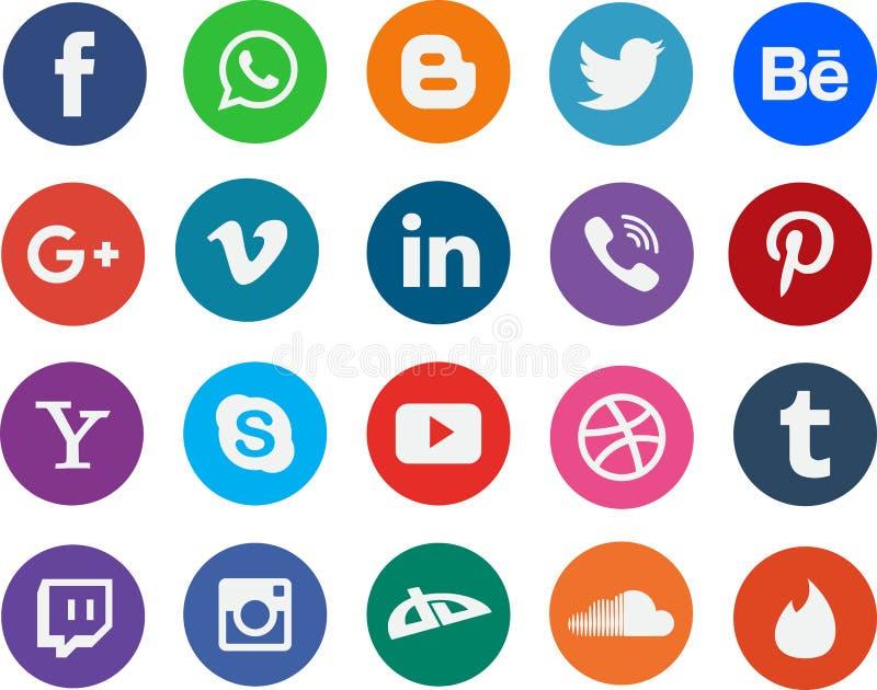 Στρογγυλά κοινωνικά λογότυπα σημαδιών δικτύωσης μέσων διανυσματική απεικόνιση