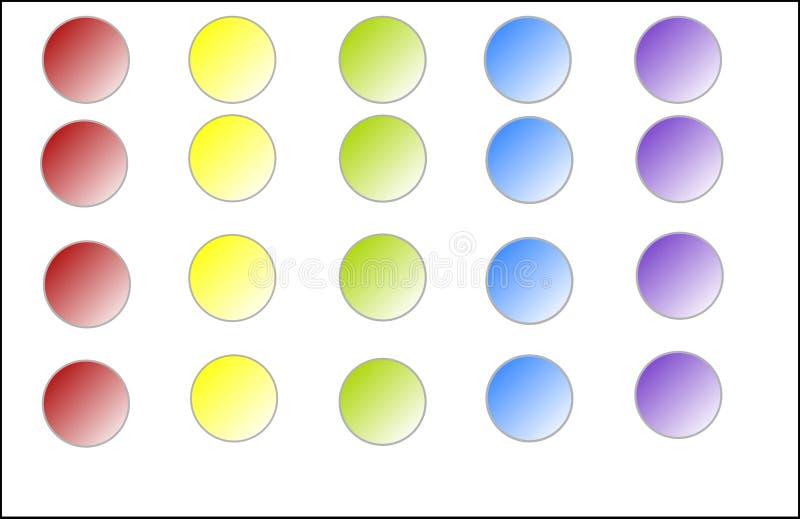 Στρογγυλά κουμπιά Ιστού σε πέντε διαφορετικά χρώματα απεικόνιση αποθεμάτων